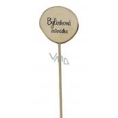 Bohemia Gifts & Cosmetics Drevený zápich k bylinkám s potlačou - Bylinková záhrada priemer kolieska je 5 - 8 cm