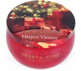 Heart & Home Hrejivé vianoce Sójová vonná sviečka v plechovke horí až 30 hodín 125 g