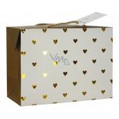 Anjel Darčeková papierová taška krabica 23 x 16 x 11 cm uzatvárateľné, so zlatými srdiečkami