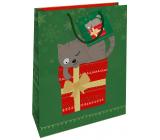 Nekupto Darčeková papierová taška 32,5 x 26 x 13 cm Vianočná zelená s mačkou WBL 1954 50