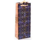 Nekupto Darčeková papierová taška na fľašu luxusné 12,5 x 32,5 x 8 cm Zlaté vzory 2037 LILH