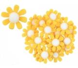 Kvety z filcu s Lepik žlté dekorácie 3,5 cm v krabičke 18 kusov
