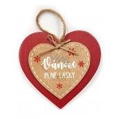 Nekupto Vánoční dřevěná dekorace srdce Vánoce plné lásky 12 x 12 cm