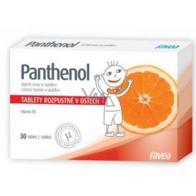 Favea Panthenol rozpustný v ústach, balzam na sliznice hrdla a ústnej dutiny 30 tabliet