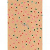 Ditipo Darčekový baliaci papier 70 x 200 cm Vianočný KRAFT zelené, ružové a červené trojuholníky