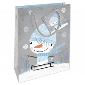 Nekupto Darčeková papierová taška 14 x 11 x 6,5 cm Vianočná so snehuliakom WBS 1913 02