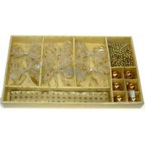 Vianočné súprava na zavesenie 6 mašľou, 6 baniek, stuha, reťaz zlatý dekor 1 kus