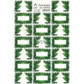 Arch Stromeček zelený vánoční samolepky na dárky 20 etiket 1 arch 823