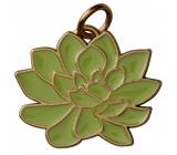 Yankee Candle Charming Scents kovový prívesok v tvare zelenej Roslin so zlatým lemovaním na visačku do auta Scculent
