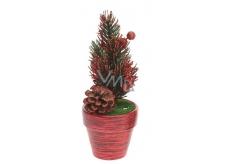 Dekorácie Vianočný stromček v kvetináči červený 17 x 6,5 x 6,5 cm
