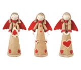 Anjel jutový s červenými krídlami na postavenie 37 cm 1 kus
