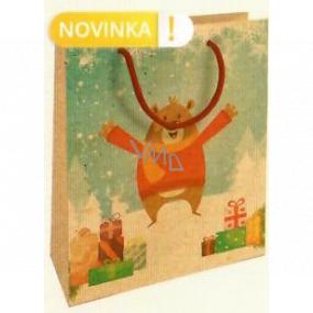 Nekupto Darčeková Kraftová taška 25 x 8 x 19 cm Vianočný medveď 595 WKHM