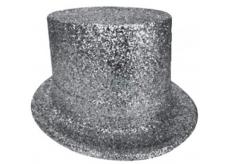 Cylinder karnevalový 25 cm strieborný
