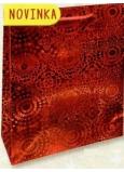 Nekupto Darčeková papierová taška veľká 32 x 26 x 13 cm Červená hologramová 121 30 THL