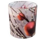 Bolsius Vianočné guľôčky vonná sviečka v skle 72 x 80 mm, doba horenia 23 hodín