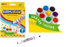Amos Color & Stamp fixky s pečiatkami 8 farieb