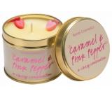 Bomb Cosmetics Karamel a ružové korenie Vonná prírodné, ručne vyrobená sviečka v plechovej dóze horí až 35 hodín