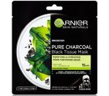 Garnier Skin Naturals Pure Charcoal Black Tissue Mask pleťová čierna textilná maska s extraktom z morských rias 28 g