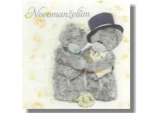 Me to You Blahopřání do obálky 3D K svatbě Svatební medvědi na bílém kapsa 15,5 x 15,5 cm