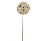Bohemia Gifts Dřevěný zápich k bylinkám s potiskem - Bazalka průměr kolečka je 5 - 8 cm
