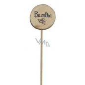 Bohemia Gifts & Cosmetics Drevený zápich k bylinkám s potlačou - Bazalka priemer kolieska je 5 - 8 cm