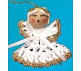 Háčkovaný anjelik so zlatým lemovaním na zavesenie 6 cm