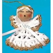 Háčkovaný anjelik so zlatým lemovaním 6 cm