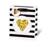 BSB Luxusná darčeková papierová taška 23 x 19 x 9 cm Golden Glitter Srdce LDT 409 - A5