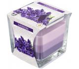 BISPOL Lavender - Levanduľa trojfarebná vonná sviečka sklo, doba horenia 32 hodín 170 g