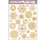 Okenní fólie bez lepidla bílo zlaté kruhové vločky 42 x 30 cm