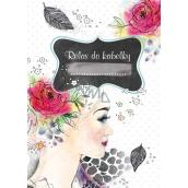 Ditipo Relax do kabelky Dievča s ružou vo vlasoch kreatívne zápisník 16 listov, formát A6 15 x 10,5 cm