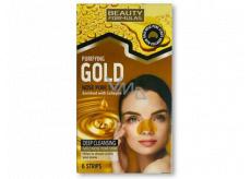 Beauty Formulas Gold zlaté čistiace pásky na nos s kolagénom a lieskovým orieškom 6 kusov
