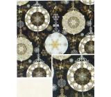 Nekupto Darčekový baliaci papier 70 x 500 cm Vianočný čierny - zlaté, strieborné ozdoby