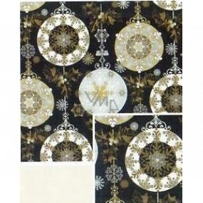 Nekupto Darčekový baliaci papier 70 x 500 cm Vianočný Černý - zlaté, strieborné ozdoby