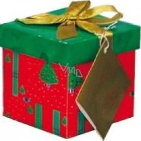 Dárková krabička s mašlí skládací vánoční červená se zlatou mašlí 1370 XS 10 x 10 x 10 cm 1 kus