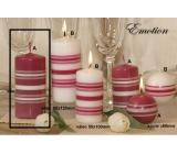 Lima Fresh Line Emotion vonná sviečka ružová - biele pruhy valec 60 x 120 mm 1 kus