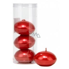 Sviečka plávajúce metal červená v tubuse 50 x 120 mm 4 kusy