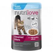 Nutrilove Dusené filetky so šťavnatým lososom v omáčke kompletné krmivo pre mačky kapsička 85 g