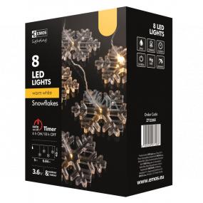 Emos Vločky záves 8 LED, teplá biela