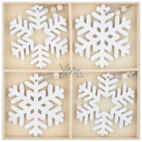 Vločky drevené biele 7,5 cm 12 kusov na zavesenie, v drevenej krabičke