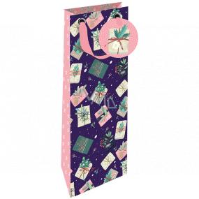Nekupto Darčeková papierová taška na fľašu luxusné 13 x 33 cm Vianočné darčeky Wilh 1982