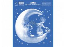 Arch Vianočné samolepka, okenné fólie bez lepidla Mesiac s anjelikom 20 x 23 cm