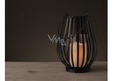 Lampa kovová so sviečkou LED teplá biela + časovač 25 x 18 cm