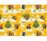Nekupto Darčekový baliaci papier 70 x 200 cm Vianočný Krtko žltý 1 role