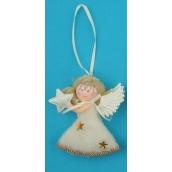 Anděl plyšový na zavěšení stříbrný hvězda 10 cm