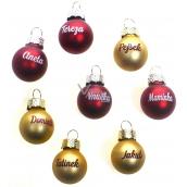 Albi Vánoční koulička červená Nikola 2 cm