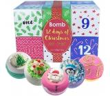 Bomb Cosmetics 12 dní do Vianoc Adventný kalendár 12 sviatočných dní mix balistika s vianočnou tematikou 12 x 160 g, kozmetická sada