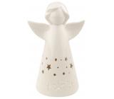 Anjel porcelánový s LED osvetlením biely s hviezdičkami 16 cm na postavenie