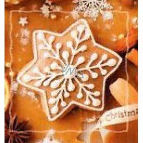 Nekupto Vianočné kartičky na darčeky Hviezda perníček 6,5 x 6,5 cm 6 kusov