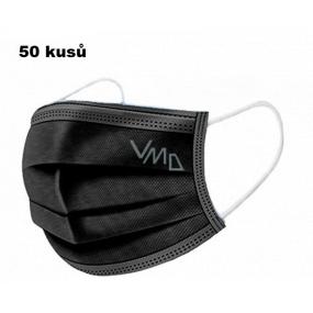 Shield Rúška 3 vrstvová ochranná zdravotné netkaná jednorazová, nízky dýchací odpor 50 kusov čierne